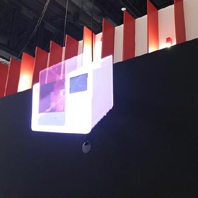 Prestation événementielle ventilateur holographique 3D sur stand