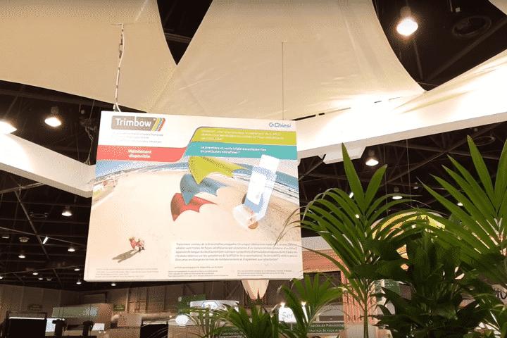 Animation innovante avec fresque hologramme 3D pour salon avec Chiesi