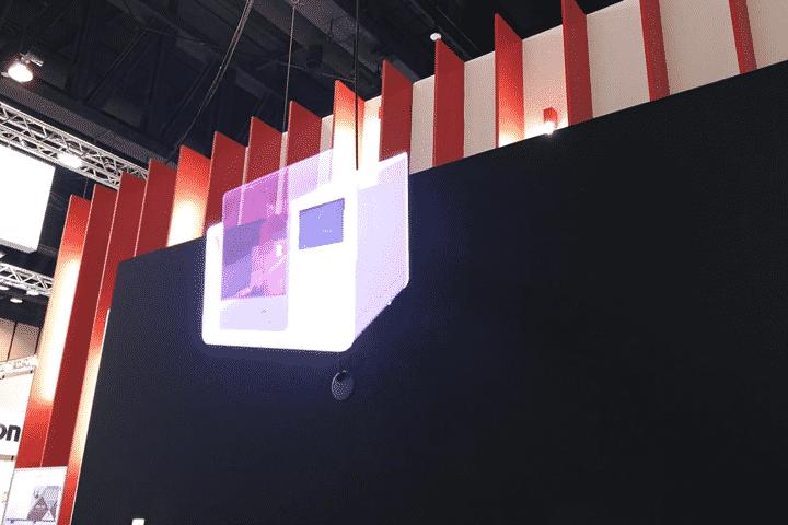 Diffusion hélice hologramme 3D sur stand