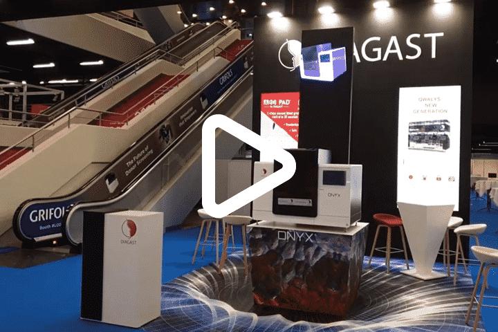 Vidéo animation innovante sur stand via ventilateur 3D flottant pour Diagast